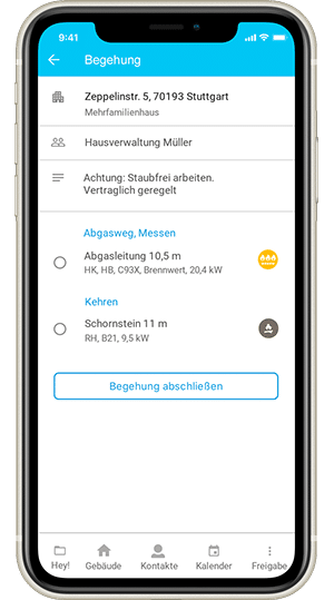 Screenshot digibase connect in der Version für Schornsteinfeger