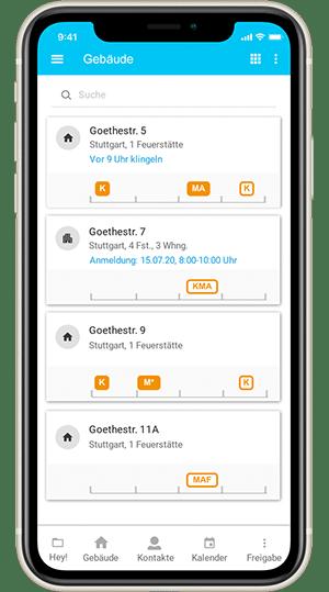Screenshot digibase connect - Gebäudeübersicht