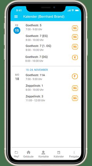 Screenshot digibase connect - Kalenderansicht mit ToDos