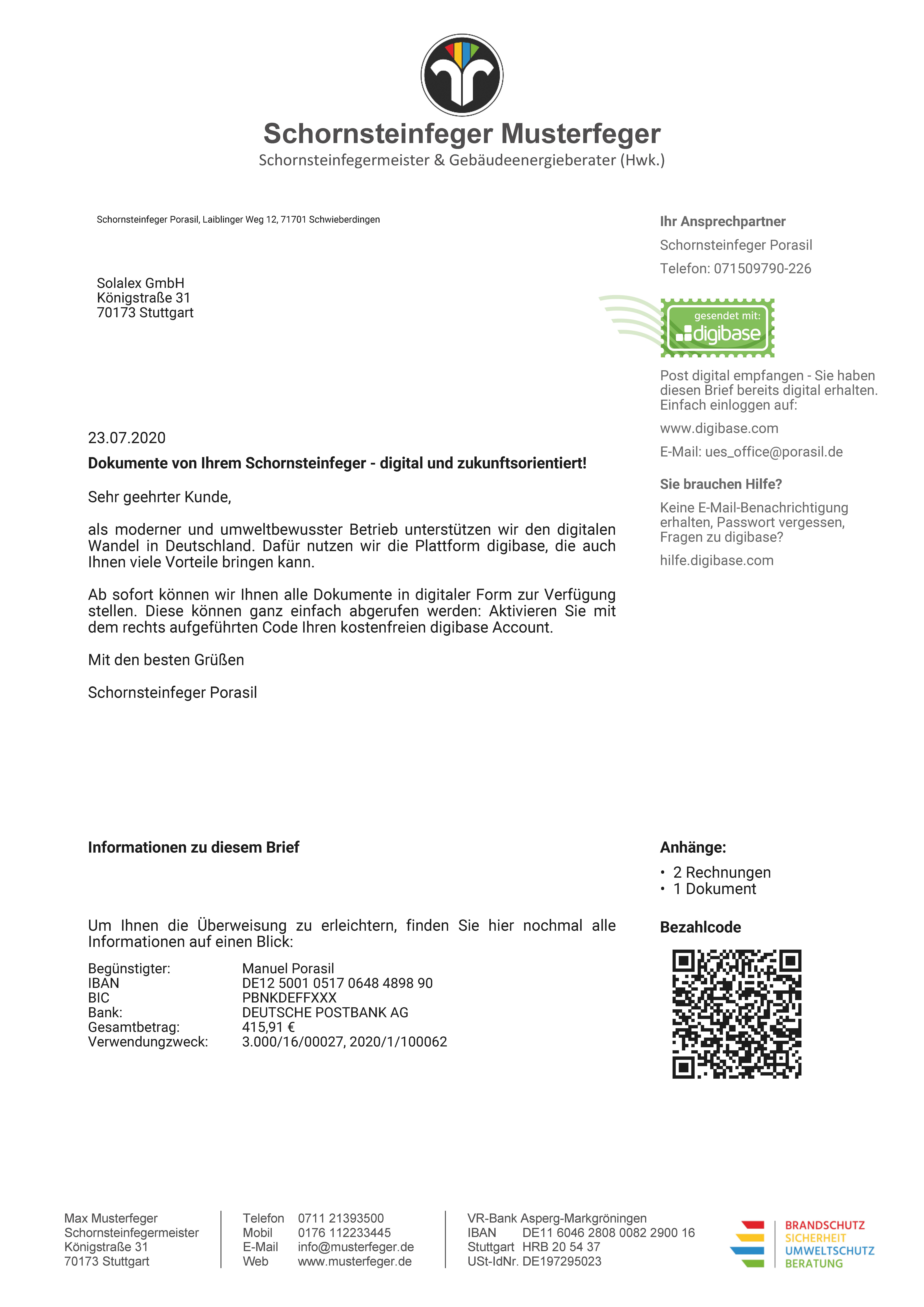 digibase network - Deckblatt postalischer Versand von Geschäftspost