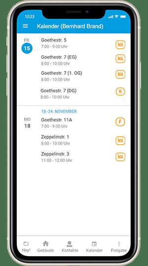 Screenshot digibase conenct - Kalender