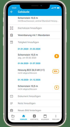 Screenshot digibase conenct - Gebäudeliste