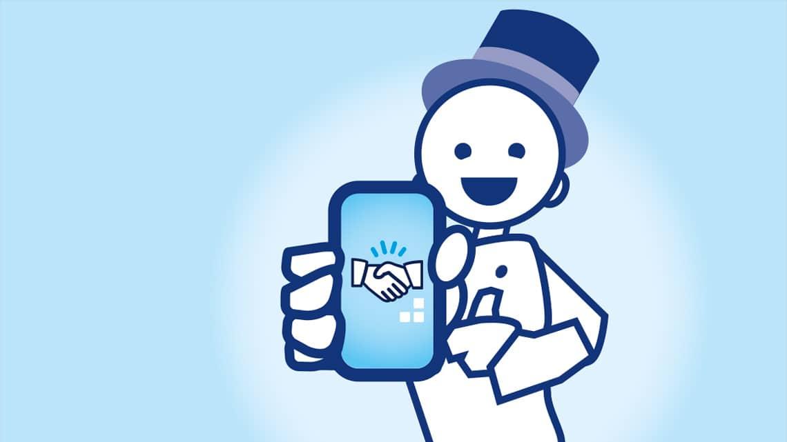 Illustration Schornsteinfeger mit Smartphone